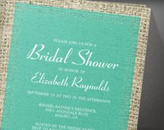Turquoise Vintage Burlap Bridal Shower Invitation