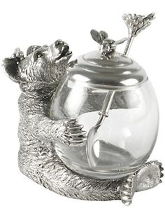 bear honey pot - table accessories - for the home - Gorsuch