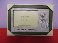 "Harvest Blessings Picture Frame 4""x6"" Sonoma Distressed Pumpkin Green Autumn…"