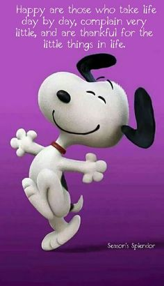 Snoopy, peanuts, happy, thankful for the little things in life