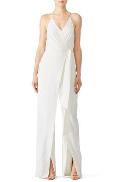 Rent Chalk White Wrap Jumpsuit by Halston Heritage for $65 only at Rent the Runway.