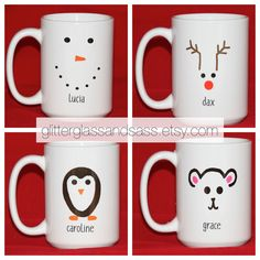 Personalized Snowman Mug, Set of 4 to 7 - Christmas Kids Party Favors - Hostess Gift - Xmas Gifts for Kids - Reindeer Penguin Polar Bear ▶Set of 4 to 7 ▶Choose your Christmas Characters and include the names you want on the mugs in your order notes! ▶This is a standard 15oz coffee mug. ▶The mugs are dishwasher and microwave safe. Back to my shop: http://www.etsy.com/glitterglassandsass