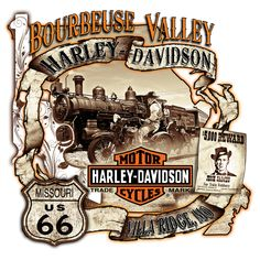 Bourbeuse Valley Harley-Davidson® Jesse James Route 66 logo. You can find this great artwork on T-shirts, Mugs, Magnets, Shot-glasses, and Coolies. Lots of historic Route 66 imagery.