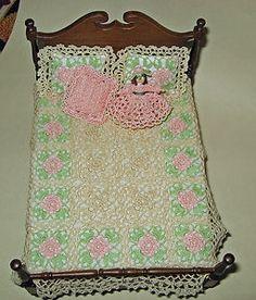 Dollhouse Miniature Crochet Bedspread 1 12 Scale Pink Flowers   eBay
