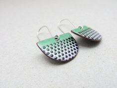 Green Dangle Earrings Green Enamel Earrings with Black Polka