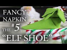 "Fancy Napkin #5 - The ""Elf Shoe"" - YouTube Napkin Folding Video, Fancy Napkin Folding, Christmas Napkin Folding, Christmas Napkins, Folding Napkins, Christmas Makes, All Things Christmas, Christmas Crafts, Christmas Recipes"