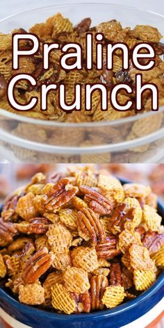Praline Crunch highly addictive SOOOO good Sweet and Salty in every bite Crispix cereal pecans brown sugar corn syrup butter vanilla baking soda Can make ahead of time a. Snack Mix Recipes, Yummy Snacks, Yummy Food, Snack Mixes, Soup Recipes, Vegan Chex Mix Recipe, Pumpkin Spice Chex Mix Recipe, Bold Chex Mix Recipe, Sweet Popcorn Recipes