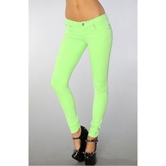 Tripp NYC neon green jeans Tripp NYC neon green skinny jeans, worn with moccasin boots, color rubbed off, willing to negotiate price Tripp nyc Jeans