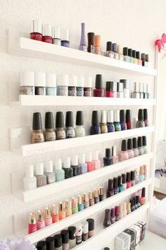 Nail polish storage: I think they carry shelves like these at Ikea...