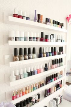 Nail polish storage: I think they carry shelves like these at Ikea...