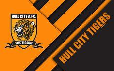Download wallpapers Hull City Tigers FC, logo, 4k, orange black abstraction, material design, English football club, Kingston upon Hull, England, UK, football, EFL Championship