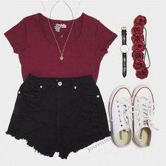 red crop top and black high waisted shorts paired with white converse
