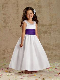 Ball Scoop Neck White Organza Ruffle Purple Sash Bow Wedding Flower Girl Dress