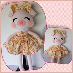 Handmade Rag Doll, Fabric Doll, Piggy READY TO SHIP by MyAlabasterBoxBoutiq on Etsy