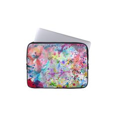 Abstract Bright Watercolor Paint Splatters Pattern Laptop Sleeve ($30) ❤ liked on Polyvore