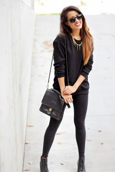 Fall Outfit:black boots, black leggings, black sweater, black clutch and sunglasses with layered chains