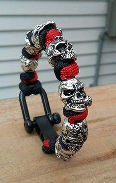 Mind/ Rose Skull Paracord Bracelet Walking Dead Theme / Black Adjustable Shackle