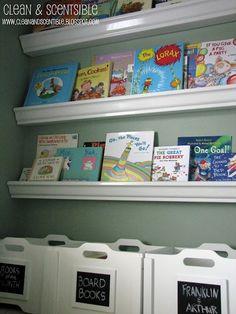 Bookshelves made from rain gutters. Genius!