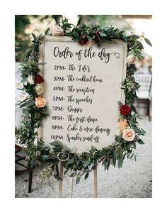 order of the day sign, order of events sign, large wedding program sign, Wedding Timeline sign, editable wedding order of events, template