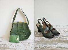 rare vintage 1940s 3pc shoe handbag and by simplicityisbliss, $285.00