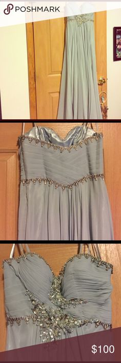 Prom dress Dusty blue flowy prom dress. Had it hemmed slightly but still long. Also added straps but could be easily removed Dresses Prom