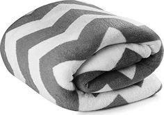 Coral Fleece Blanket Grey - Zig Zag Design, Chevron print Lightweight Couch Blanket, Warm Bed Blanket, Easy Care- by Utopia Bedding
