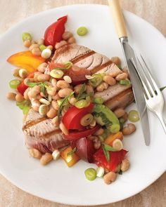 Tomato and Bean Salad with Grilled Tuna Recipe