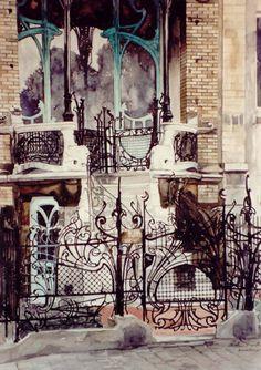 Paul Dmoch La façade de la Maison Saint-Cyr à Bruxelles, Belgique 74 x 50 - aquarelle