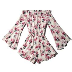 Abercrombie & Fitch Floral Off The Shoulder Romper ($25) ❤ liked on Polyvore featuring jumpsuits, rompers, dresses, playsuit, rompers/jumpsuits, white floral, floral print romper, floral rompers, off the shoulder romper and floral jumpsuit