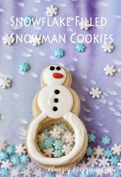 Build your own sweet snowmen in the warmth of your kitchen. These Snowflake Filled Snowman Cookies are made by stacking three cookies together. Each snowman has a clear candy belly so you can see the candy snowflakes inside. Christmas Sweets, Christmas Goodies, Christmas Baking, Winter Christmas, Xmas Desserts, Christmas Cakes, Snowman Cookies, Xmas Cookies, Snowman Cupcakes