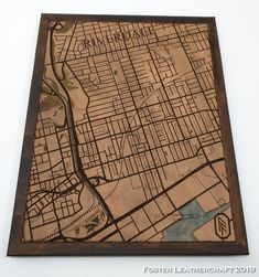 Scale Map, Unique Gifts, Best Gifts, Third Anniversary, Custom Map, New Tricks, Leather Craft, The Fosters, Hand Carved