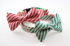 Red Peppermint Stick Bow Tie Dog Collar. $42.00, via Etsy.