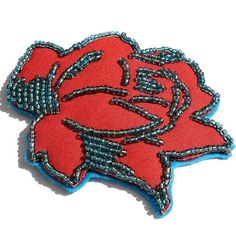 red and blue bead rose hair clip | Flickr - Photo Sharing!