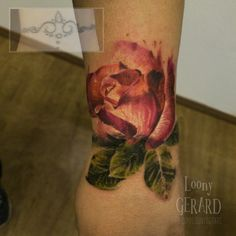 Rose coverup tattoo by @loonygerard