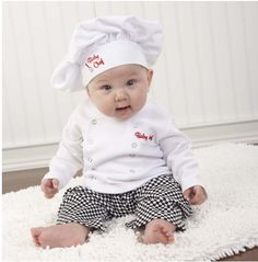 Only the best chef outfit for your baby.  Get them at http://ilovebabyclothes.com/?page_id=114