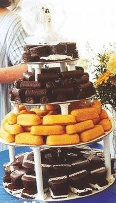 Junk food cake. Good for a redneck wedding or cute for an engagement party. :)