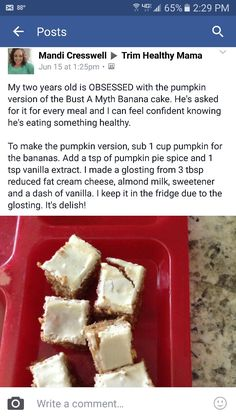 Pumpkin version of Bust a Myth Banana Cake in THM Cookbook