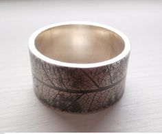 Items similar to Rustic Leaf Ring Wide Statement Ring Nature Ring Wedding Band Unisex Ring Mans Wedding Ring Mens Jewelry - Sterling Silver on Etsy