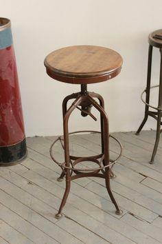 Vintage Industrial Toledo UHL Draftsman Stool Machine Age Chair 1940s Walnut. www.DorsetFinds.com