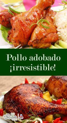 Prepare a delicious marinated chicken casserole! Pollo Chicken, Tandoori Chicken, Pollo Adobado Recipe, Mexican Cooking, Mexican Food Recipes, Guatemalan Recipes, Deli Food, Cooking Recipes, Healthy Recipes
