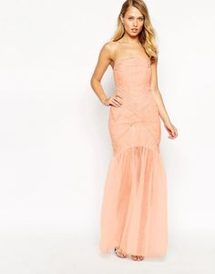Jarlo+Felicity+Bandeau+Maxi+Dress+With+Ruched+Bodice+And+Tulle+Skirt