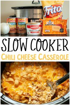 Slow Cooker Chili Cheese Casserole – Comfort food at it's finest. A casserol… Slow Cooker Chili Cheese Casserole – Comfort food at it's finest. A casserole with chili, cheese, sour cream, fritos and onion. – The Magical Slow Cooker Slow Cooker Chili, Crock Pot Slow Cooker, Slow Cooker Recipes, Cooking Recipes, Cooking Tips, Aldi Recipes, Chicken Recipes, Recipies, Cooking Classes