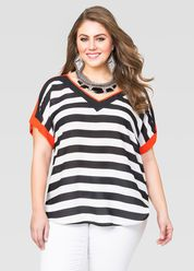 Plaid Roll Sleeve Hi-Lo Tunic-Plus Size Shirts-Ashley Stewart