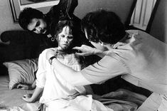 """Kubrick is one the most perfectionist, and his perfectionism broke crew members, one scene took weeks to film, and the crew had to work 13 hours a day. It took three days to film the """"Here's Johnny"""" scene, which required over 60 doors. Linda Blair, Classic Horror Movies, Horror Films, Horror Art, The Exorcist 1973, Old Movie Stars, The Shining, Scene Photo, Movie List"""