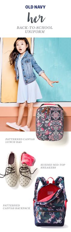 Make sure her lunch bag is as bold as her personality with our floral backpack that's ready for anything. Made of durable canvas, it'll survive any rough-and-tumble playground play. It also comes in a navy floral, polka dot, and plaid. The customizable name-tag label is sure to make her feel special. 15h