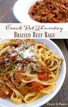 Crockpot Braised Beef Ragu that is an easy menu idea perfect for a dinner party or just a simple and delicious family-friendly meal! If you have a slow cooker and a beef roast, you can make this! Best Grill Recipes, Slow Cooker Recipes, Crockpot Recipes, Real Food Recipes, Cooking Recipes, Pasta Recipes, Dinner Recipes, Dinner Ideas, Chicken Recipes