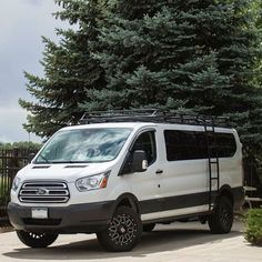Ford Transit van by Van Works in Colorado outfitted with Aluminess roof rack and ladder Ford Transit Conversion, Camper Conversion, Transitional Living Rooms, Transitional House, Ambulance, Tour Bus, Ford Transit Camper, Transit Custom, Transitional Fireplaces