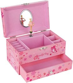Amazon.com: SONGMICS Ballerina Music Jewelry Box Storage Case with Drawer, Gift for Little Girls, Princess and Butterfly, Pink UJMC003: Home & Kitchen Little Girl Jewelry, Girls Jewelry Box, Musical Jewelry Box, Little Girl Gifts, Music Jewelry, Old Jewelry, Music Box Ballerina, Ballerina Jewelry Box, Ballerina Pink