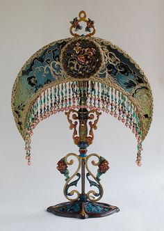 Art Nouveau Moon Shaped Victorian Lampshade by Christine Kilger