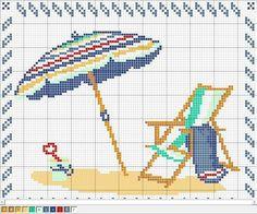 Cross Stitch Sea, Cross Stitch Needles, Counted Cross Stitch Patterns, Cross Stitch Charts, Cross Stitch Designs, Cross Stitch Embroidery, Beach Pattern, Beach Quilt, Stitch Crochet